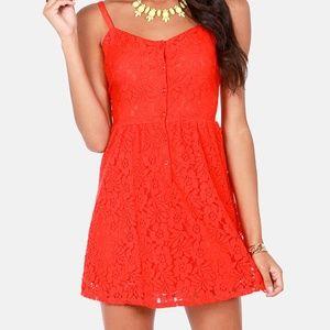 Volcom NSC Orange Lace Small Dress